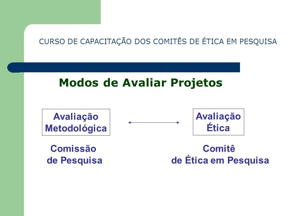 CURSO DE CAPACITAÇÃO DOS COMITÊS DE ÉTICA EM PESQUISA Modos de Avaliar Projetos Avaliação Metodológica Comissão de Pesquisa Avaliação Ética Comitê de