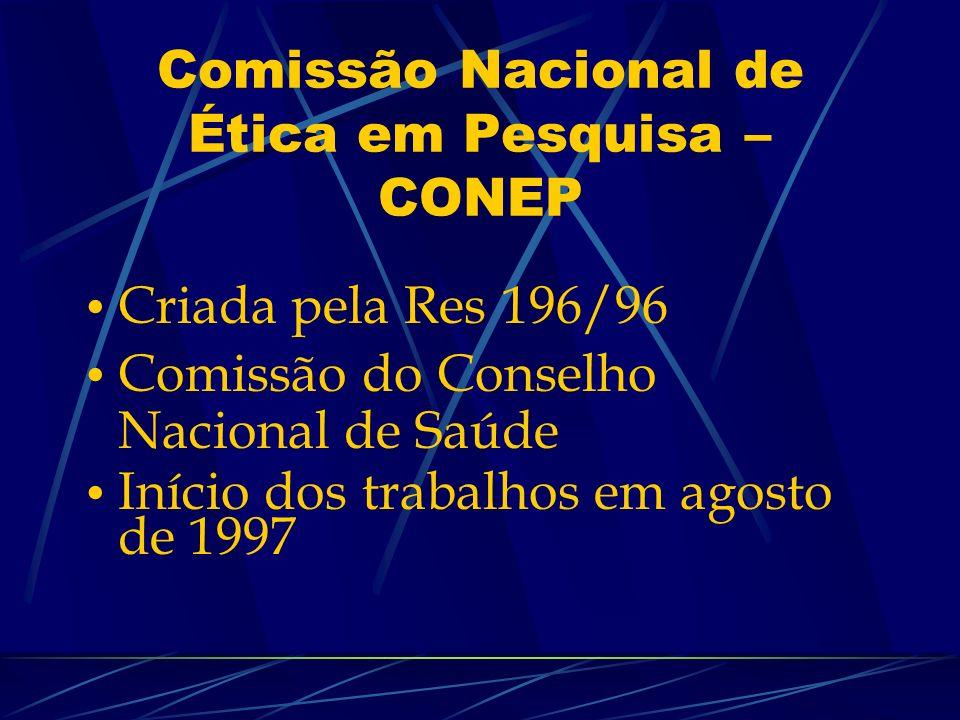Comissão Nacional de Ética em Pesquisa – CONEP Criada pela Res 196/96 Comissão do Conselho Nacional de Saúde Início dos trabalhos em agosto de 1997