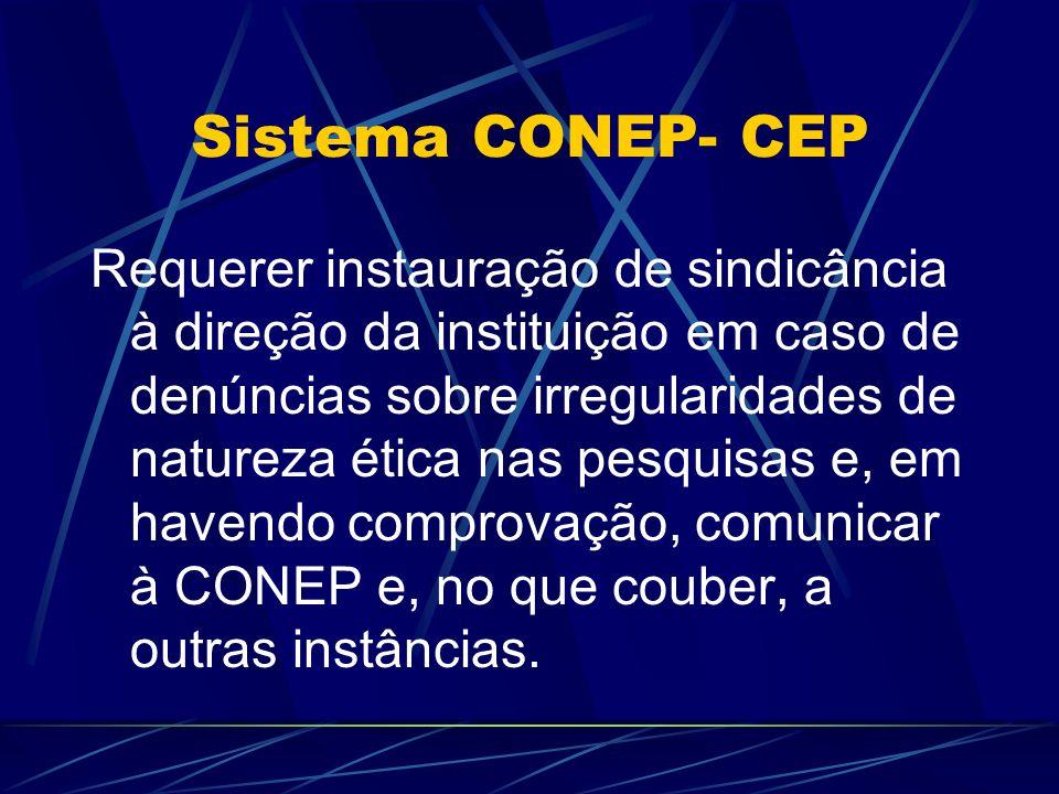 Sistema CONEP- CEP Requerer instauração de sindicância à direção da instituição em caso de denúncias sobre irregularidades de natureza ética nas pesquisas e, em havendo comprovação, comunicar à CONEP e, no que couber, a outras instâncias.