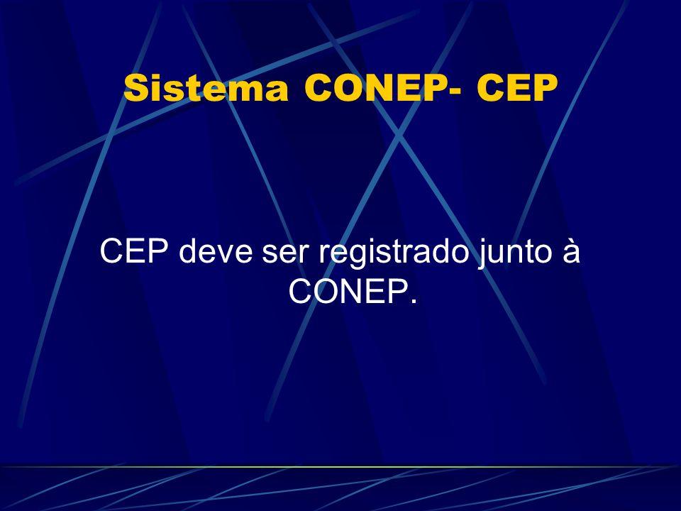 Sistema CONEP- CEP CEP deve ser registrado junto à CONEP.