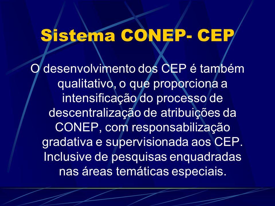 Sistema CONEP- CEP O desenvolvimento dos CEP é também qualitativo, o que proporciona a intensificação do processo de descentralização de atribuições da CONEP, com responsabilização gradativa e supervisionada aos CEP.