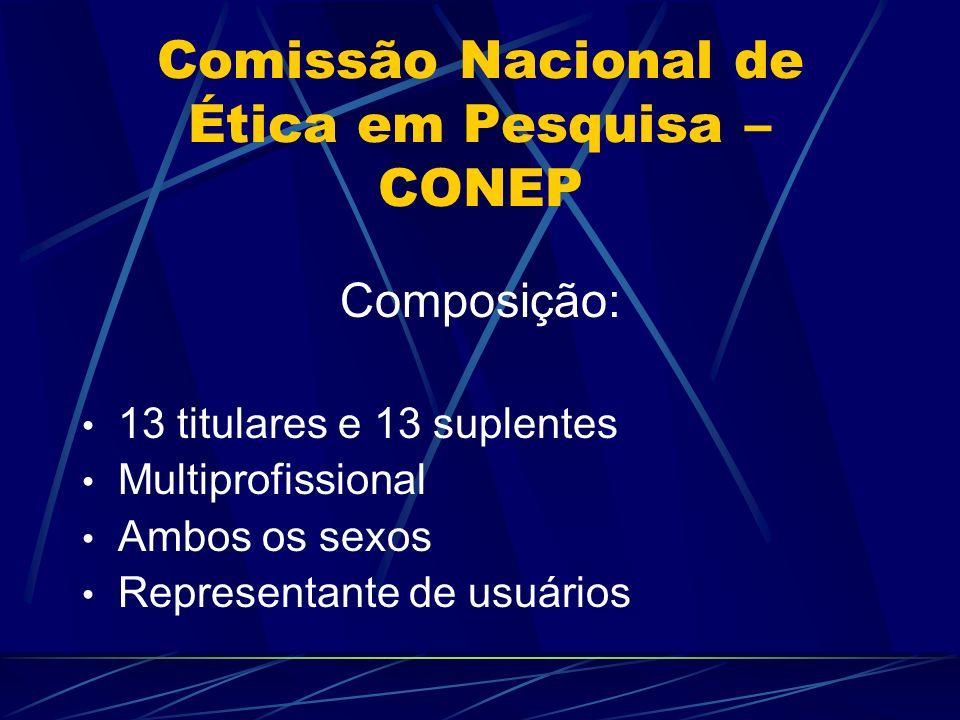 Comissão Nacional de Ética em Pesquisa – CONEP Membros selecionados a partir de indicações feitas pelos CEP Cada CEP indica 2 nomes Membros escolhidos pelo CNS Membros sorteados