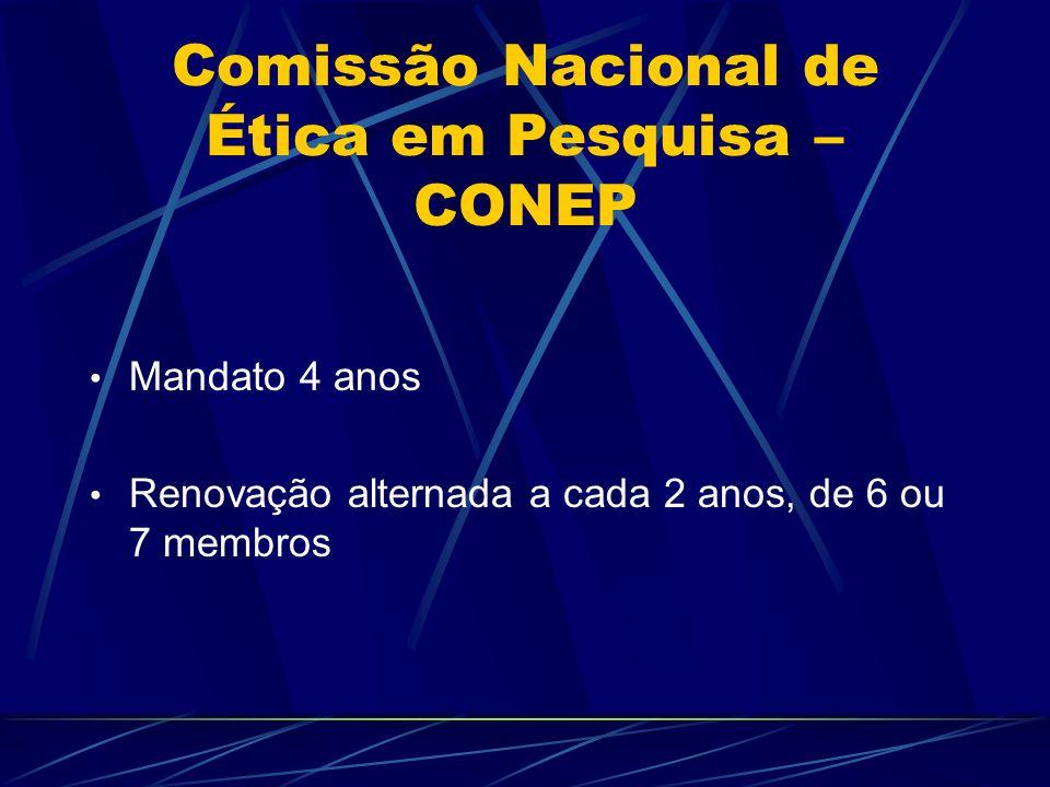 Comissão Nacional de Ética em Pesquisa – CONEP Mandato 4 anos Renovação alternada a cada 2 anos, de 6 ou 7 membros