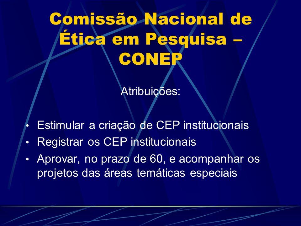 Comissão Nacional de Ética em Pesquisa – CONEP Atribuições: Estimular a criação de CEP institucionais Registrar os CEP institucionais Aprovar, no prazo de 60, e acompanhar os projetos das áreas temáticas especiais