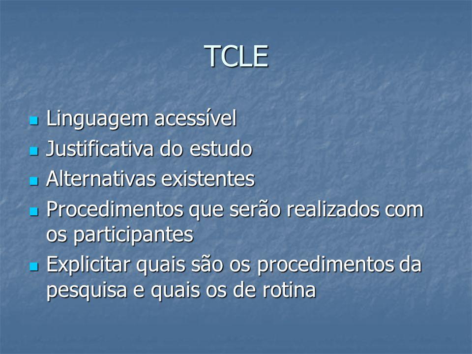 TCLE Linguagem acessível Linguagem acessível Justificativa do estudo Justificativa do estudo Alternativas existentes Alternativas existentes Procedime