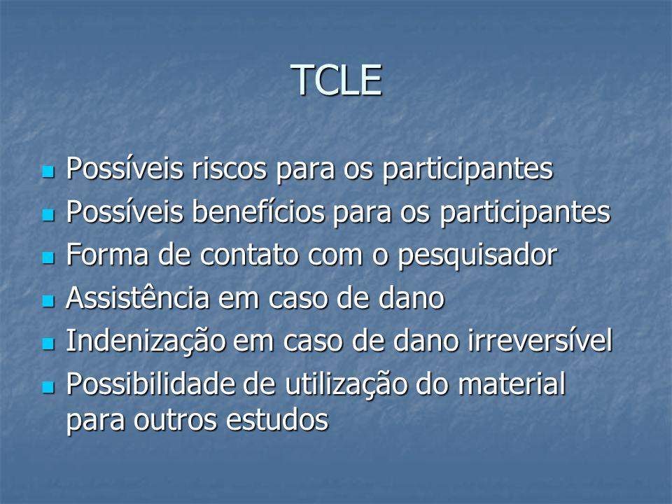 TCLE Possíveis riscos para os participantes Possíveis riscos para os participantes Possíveis benefícios para os participantes Possíveis benefícios par