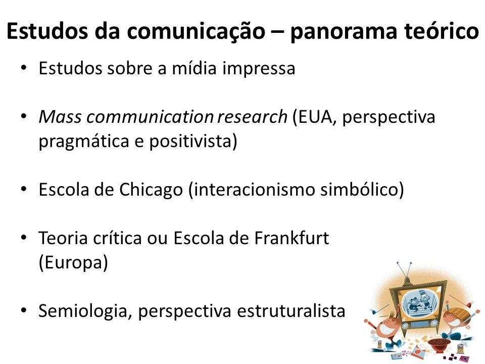Estudos da comunicação – panorama teórico Estudos sobre a mídia impressa Mass communication research (EUA, perspectiva pragmática e positivista) Escol