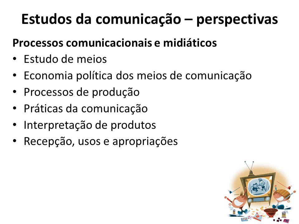 Estudos da comunicação – perspectivas Processos comunicacionais e midiáticos Estudo de meios Economia política dos meios de comunicação Processos de p