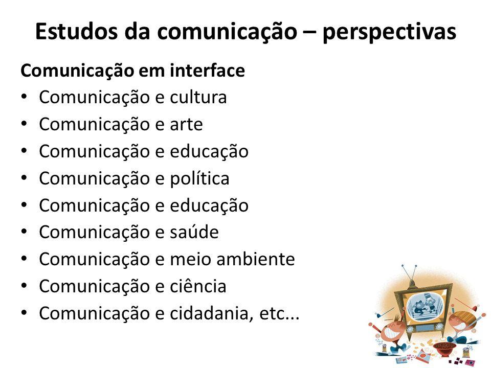 Estudos da comunicação – perspectivas Comunicação em interface Comunicação e cultura Comunicação e arte Comunicação e educação Comunicação e política