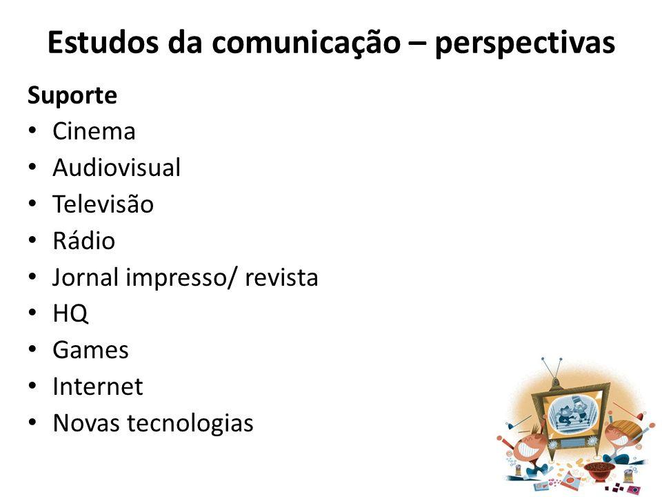 Estudos da comunicação – perspectivas Suporte Cinema Audiovisual Televisão Rádio Jornal impresso/ revista HQ Games Internet Novas tecnologias