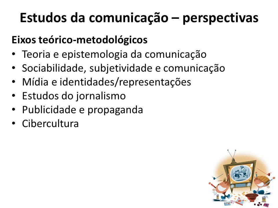 Estudos da comunicação – perspectivas Eixos teórico-metodológicos Teoria e epistemologia da comunicação Sociabilidade, subjetividade e comunicação Míd