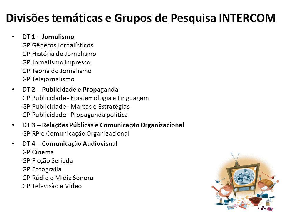 Divisões temáticas e Grupos de Pesquisa INTERCOM DT 1 – Jornalismo GP Gêneros Jornalísticos GP História do Jornalismo GP Jornalismo Impresso GP Teoria