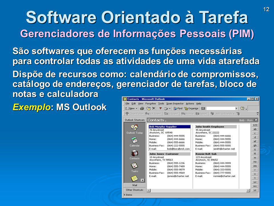12 Gerenciadores de Informações Pessoais (PIM) Software Orientado à Tarefa São softwares que oferecem as funções necessárias para controlar todas as a