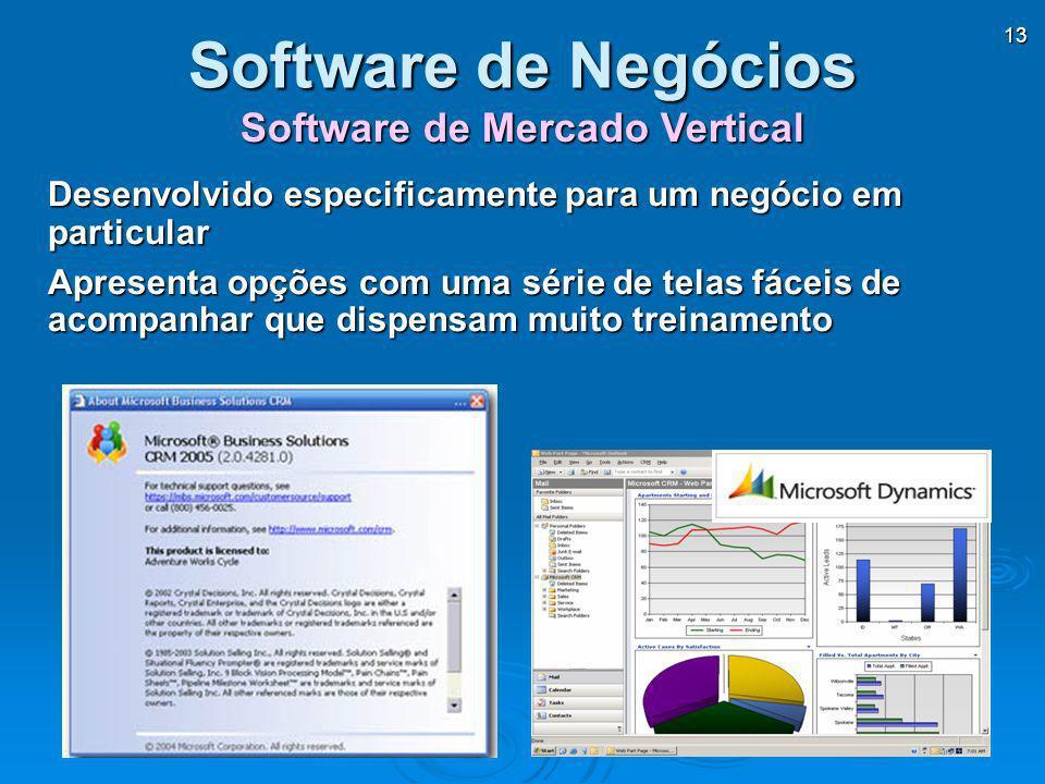 13 Software de Mercado Vertical Software de Negócios Desenvolvido especificamente para um negócio em particular Apresenta opções com uma série de tela