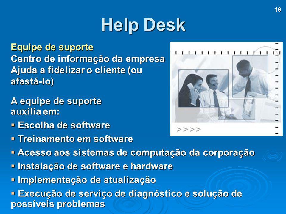 16 Help Desk A equipe de suporte auxilia em: Escolha de software Escolha de software Treinamento em software Treinamento em software Acesso aos sistem