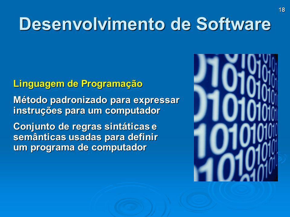 18 Desenvolvimento de Software Linguagem de Programação Método padronizado para expressar instruções para um computador Conjunto de regras sintáticas