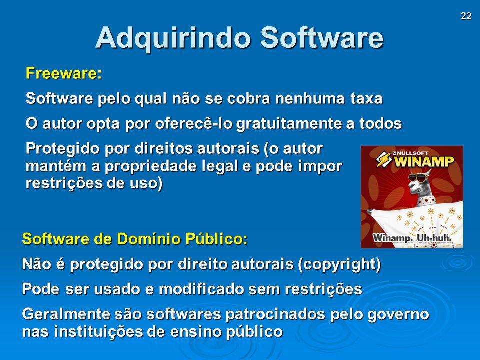 22 Adquirindo Software Freeware: Software pelo qual não se cobra nenhuma taxa O autor opta por oferecê-lo gratuitamente a todos Protegido por direitos