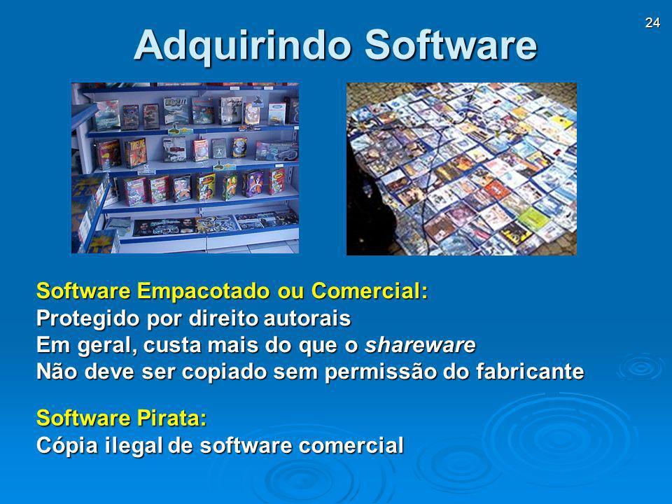 24 Software Empacotado ou Comercial: Protegido por direito autorais Em geral, custa mais do que o shareware Não deve ser copiado sem permissão do fabr