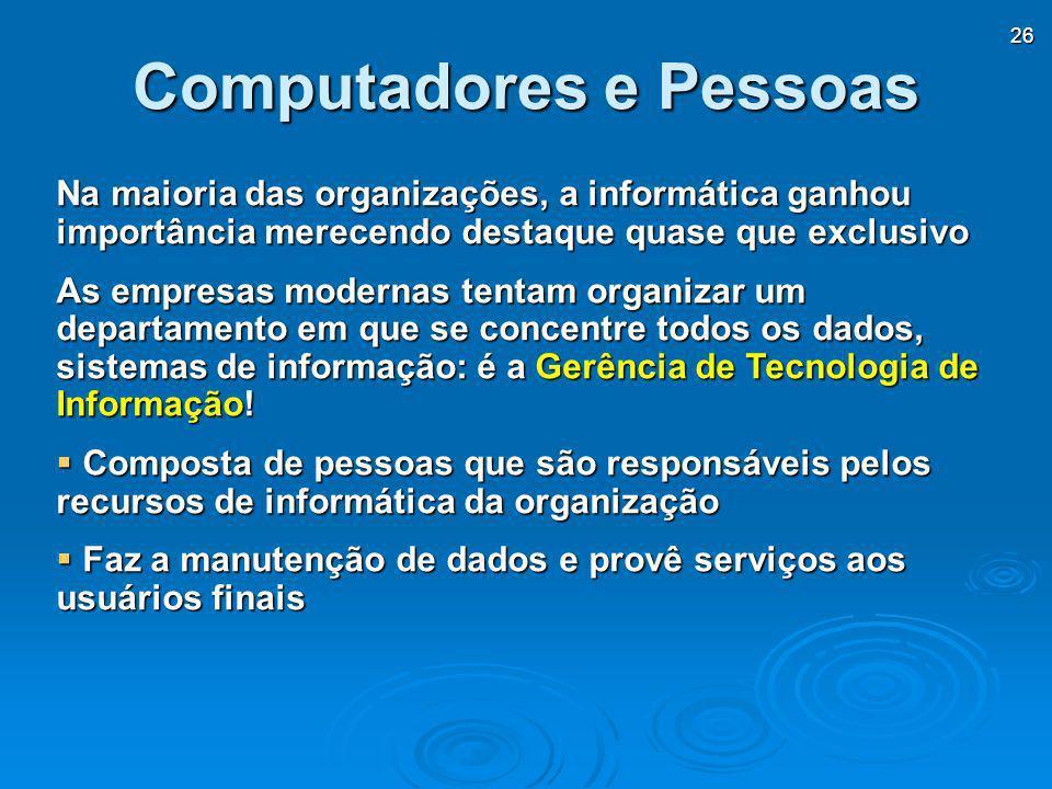 26 Na maioria das organizações, a informática ganhou importância merecendo destaque quase que exclusivo As empresas modernas tentam organizar um depar
