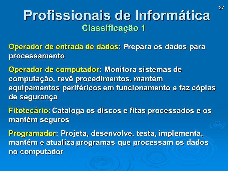 27 Profissionais de Informática Operador de entrada de dados: Prepara os dados para processamento Operador de computador: Monitora sistemas de computa