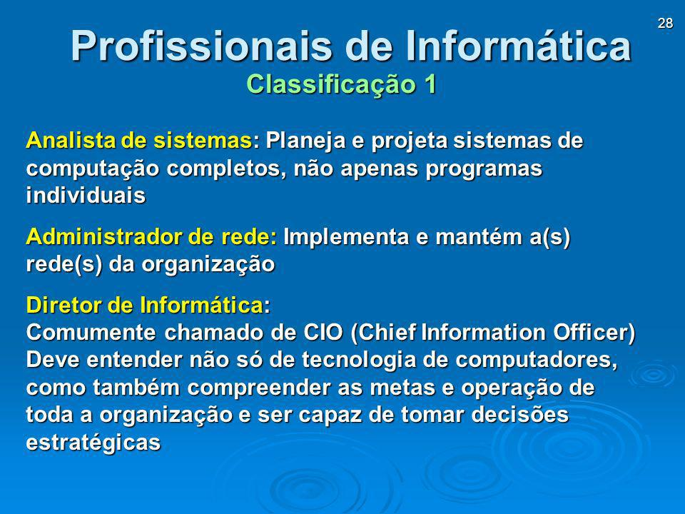 28 Analista de sistemas: Planeja e projeta sistemas de computação completos, não apenas programas individuais Administrador de rede: Implementa e mant