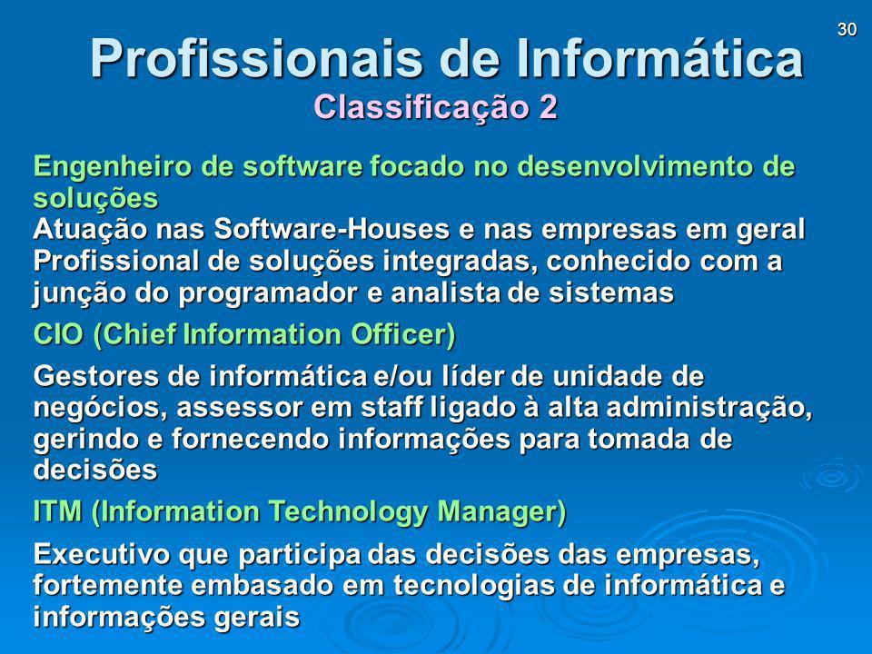 30 Engenheiro de software focado no desenvolvimento de soluções Atuação nas Software-Houses e nas empresas em geral Profissional de soluções integrada