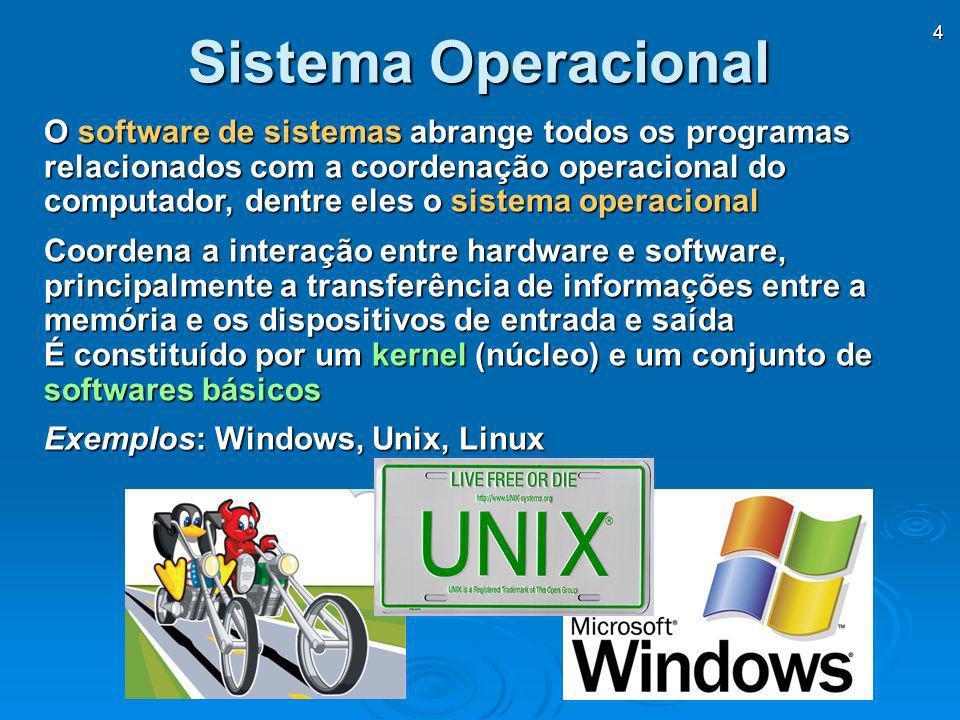 4 O software de sistemas abrange todos os programas relacionados com a coordenação operacional do computador, dentre eles o sistema operacional Coorde