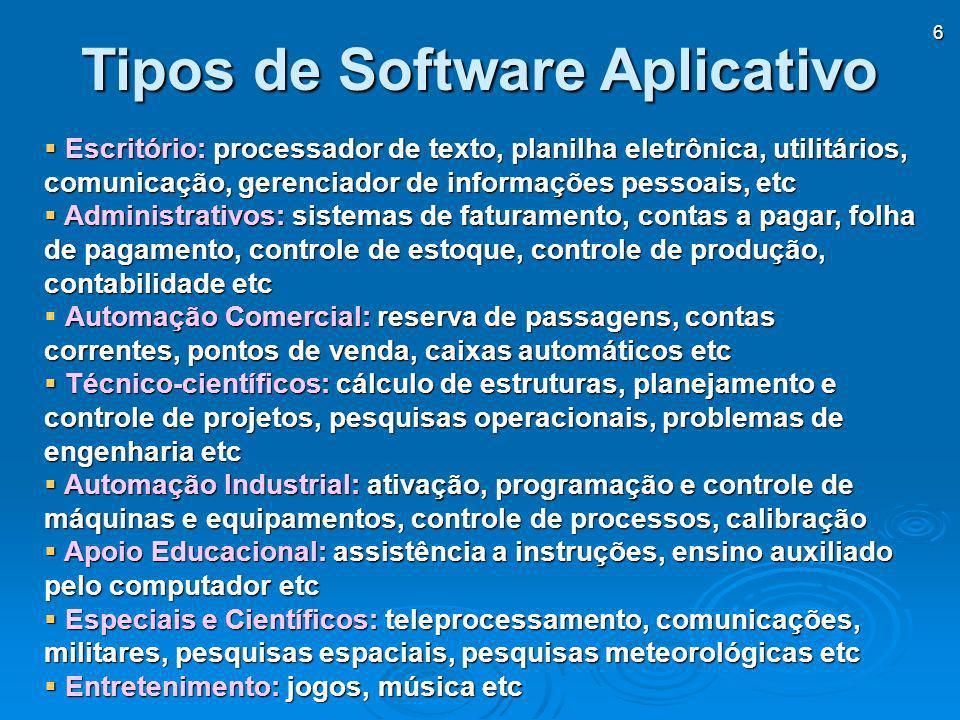 6 Escritório: processador de texto, planilha eletrônica, utilitários, comunicação, gerenciador de informações pessoais, etc Escritório: processador de