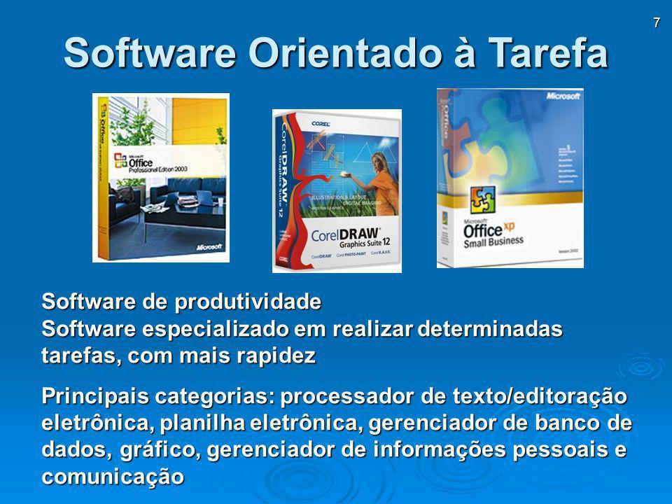 7 Software Orientado à Tarefa Software de produtividade Software especializado em realizar determinadas tarefas, com mais rapidez Principais categoria