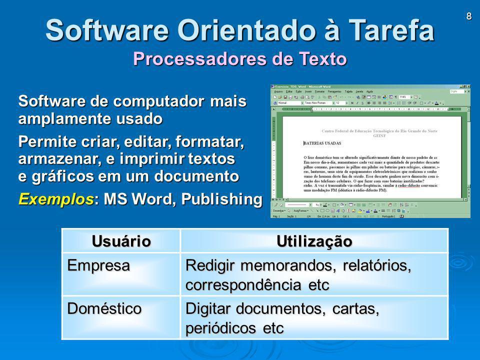 8 Processadores de Texto Software Orientado à Tarefa Software de computador mais amplamente usado Permite criar, editar, formatar, armazenar, e imprim