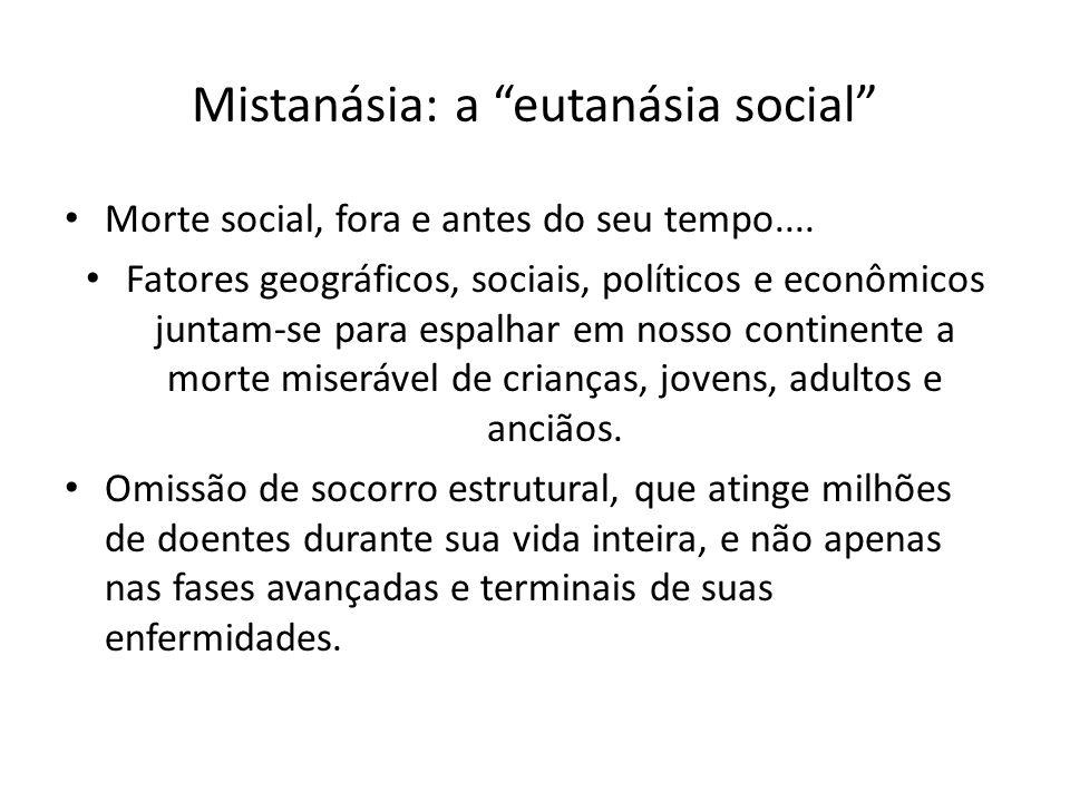 Mistanásia: a eutanásia social Morte social, fora e antes do seu tempo.... Fatores geográficos, sociais, políticos e econômicos juntam-se para espalha