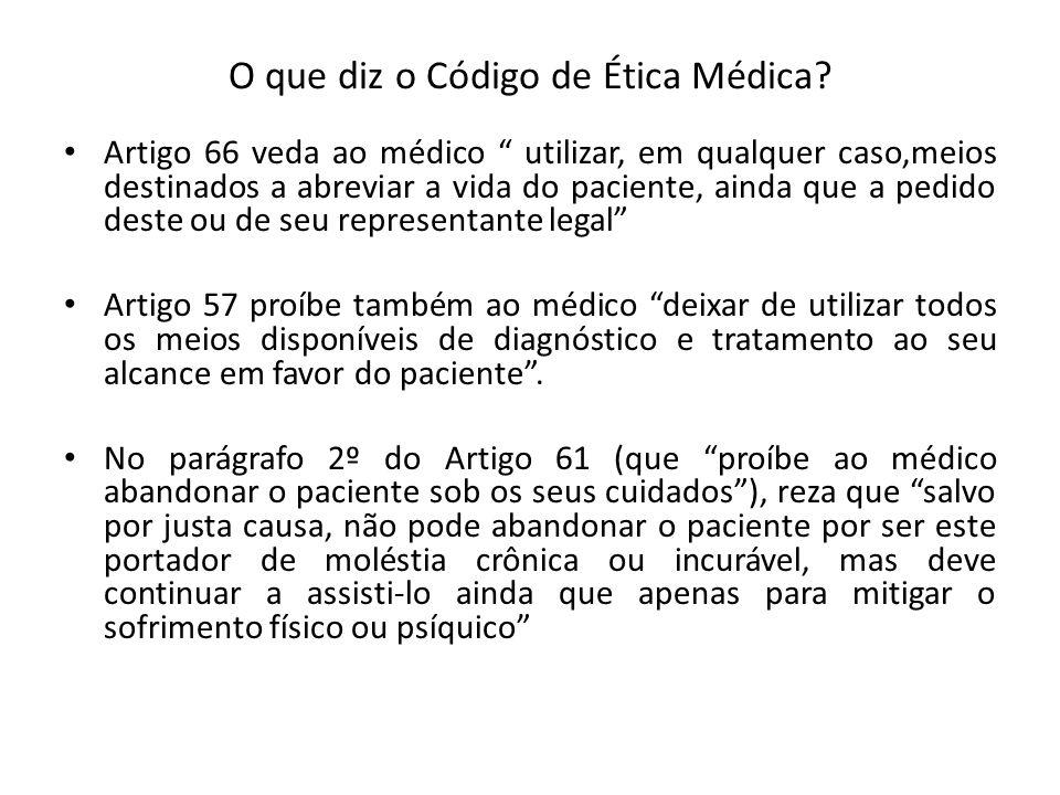 O que diz o Código de Ética Médica? Artigo 66 veda ao médico utilizar, em qualquer caso,meios destinados a abreviar a vida do paciente, ainda que a pe