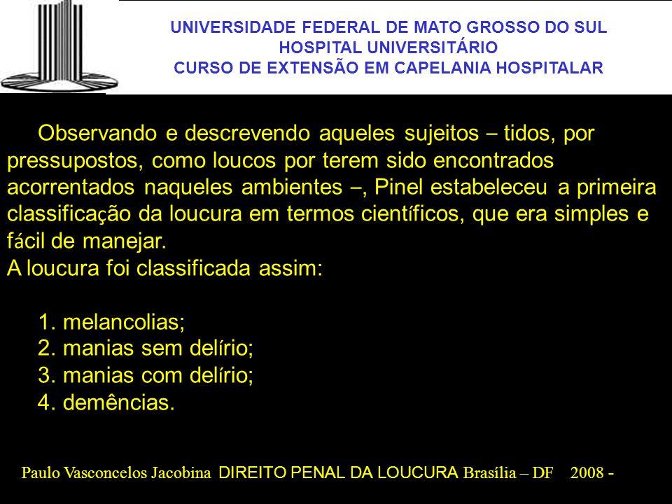 UNIVERSIDADE FEDERAL DE MATO GROSSO DO SUL HOSPITAL UNIVERSITÁRIO CURSO DE EXTENSÃO EM CAPELANIA HOSPITALAR UFMS Histórias da saúde mental no Brasil No Brasil Colônia, o que hoje conhecemos como medicina, ou como campo de atuação da medicina, era exercido por uma série de sujeitos, com práticas que a ciência não mais legitima, mas que o povo brasileiro ainda usa: curandeiros, pajés, pais-de- santo, cirurgiões- barbeiros, benzeduras, atos religiosos, como confissões e exorcismos, tudo isso ao lado dos raríssimos físicos (licenciados que estudavam em Portugal ou na Espanha) e, mais tarde, dos doutores médicos – pouquíssimos –, já nos séculos XVII e XVIII.