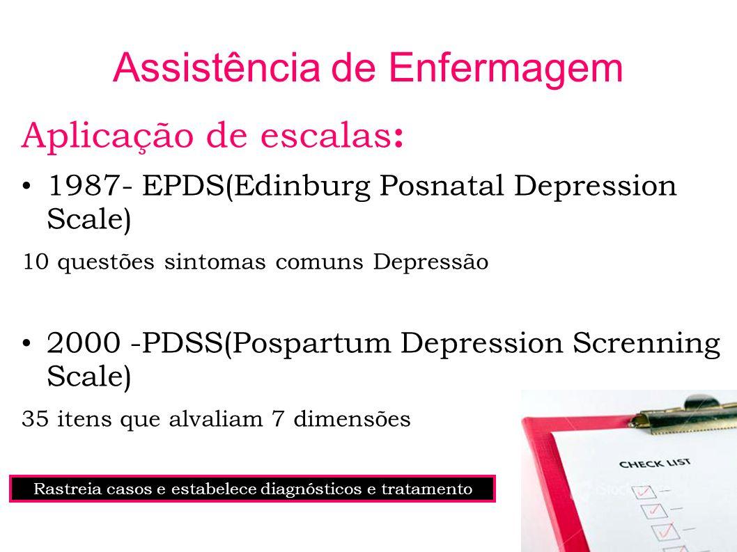 Assistência de Enfermagem Aplicação de escalas : 1987- EPDS(Edinburg Posnatal Depression Scale) 10 questões sintomas comuns Depressão 2000 -PDSS(Pospa