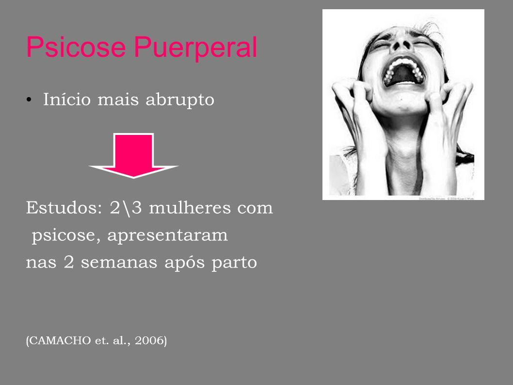 Psicose Puerperal Início mais abrupto Estudos: 2\3 mulheres com psicose, apresentaram nas 2 semanas após parto (CAMACHO et. al., 2006)