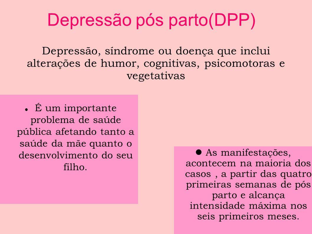Depressão Pós- Parto (DPP) Prevalência- trimestre: 1º T- 7,4% 2º T- 12,8% 3º T- 12% (CAMACHO et.