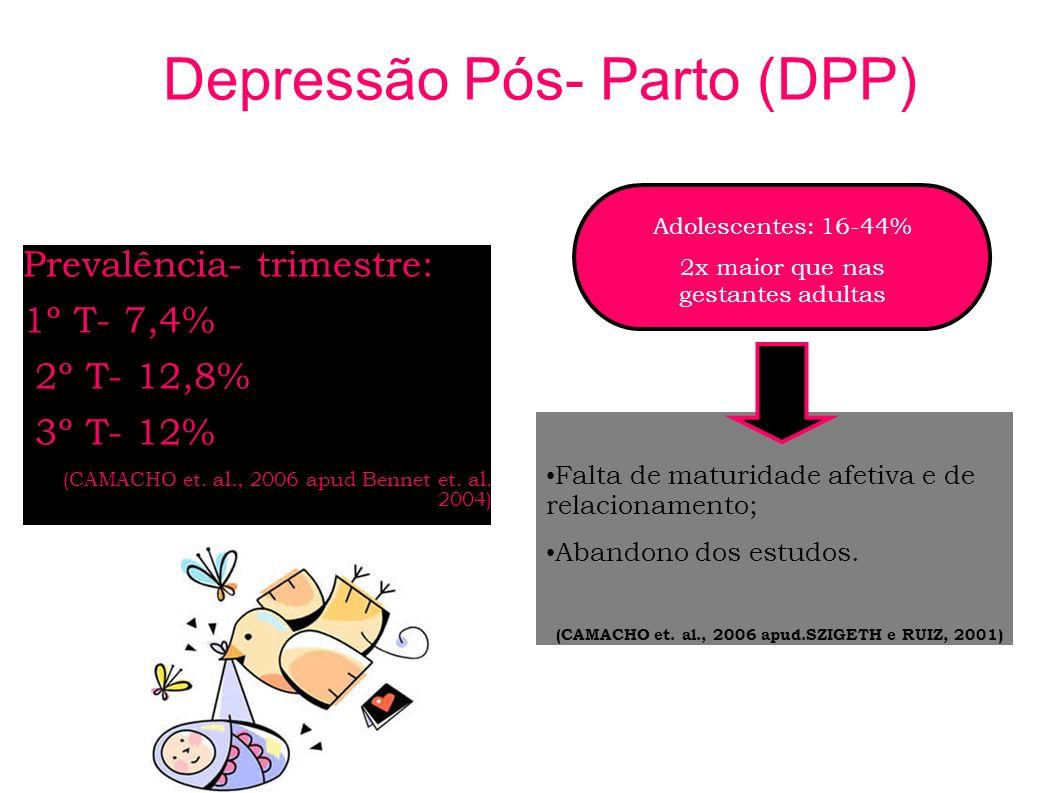 Depressão Pós- Parto (DPP) Prevalência- trimestre: 1º T- 7,4% 2º T- 12,8% 3º T- 12% (CAMACHO et. al., 2006 apud Bennet et. al. 2004) Falta de maturida
