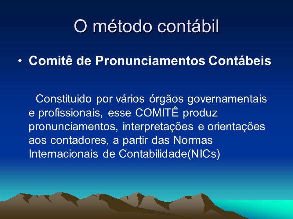O método contábil Comitê de Pronunciamentos Contábeis Constituido por vários órgãos governamentais e profissionais, esse COMITÊ produz pronunciamentos