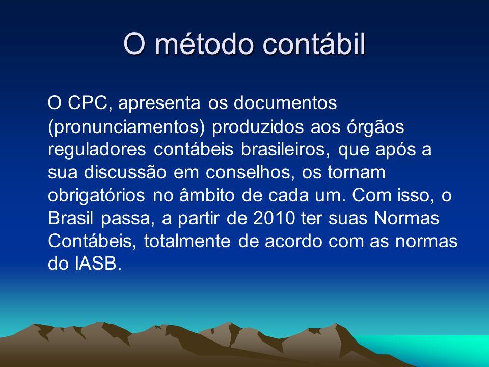 O método contábil O CPC, apresenta os documentos (pronunciamentos) produzidos aos órgãos reguladores contábeis brasileiros, que após a sua discussão e