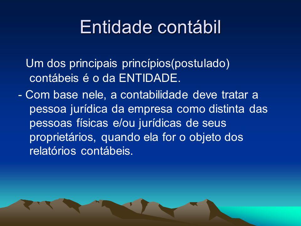 Entidade contábil Um dos principais princípios(postulado) contábeis é o da ENTIDADE. - Com base nele, a contabilidade deve tratar a pessoa jurídica da