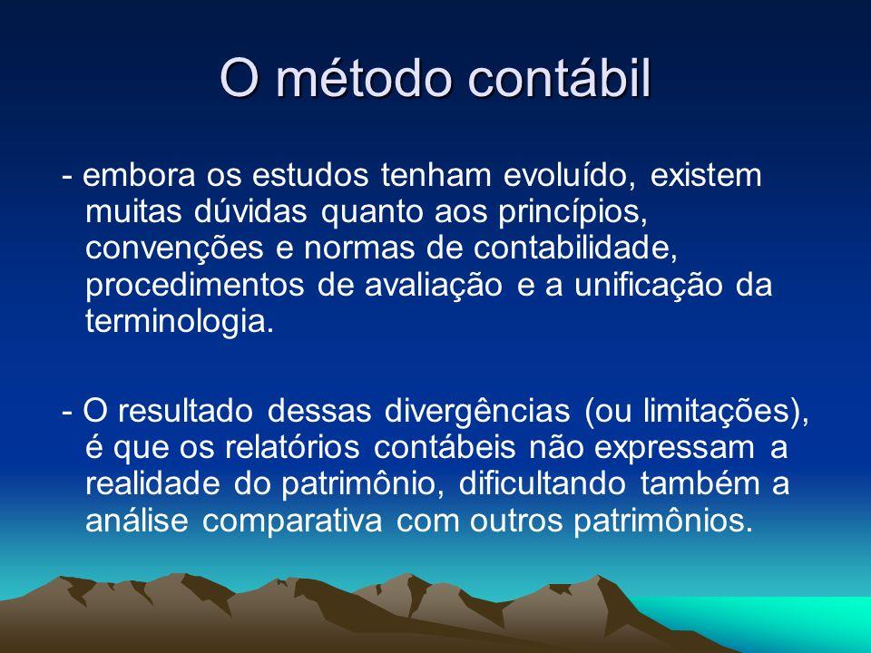 O método contábil A contabilidade é um modelo, o que por definição representa simplificações da realidade.