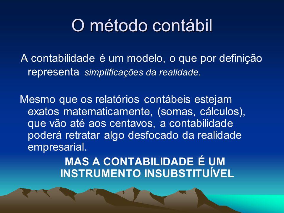 O método contábil A contabilidade é um modelo, o que por definição representa simplificações da realidade. Mesmo que os relatórios contábeis estejam e