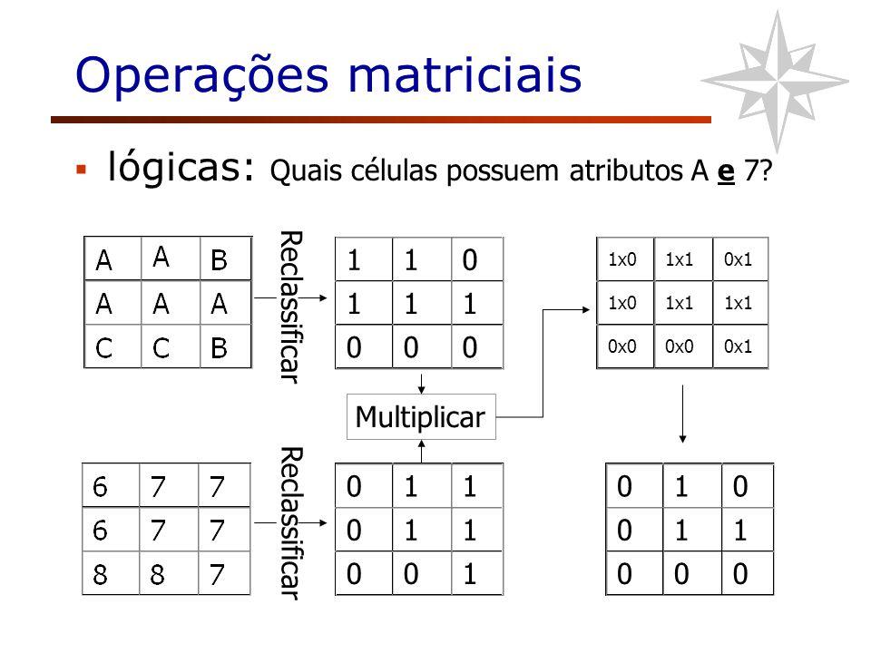 Operações matriciais lógicas: Quais células possuem atributos A e 7? 110 111 000 1x0 1x10x1 1x01x1 0x0 0x1 Multiplicar Reclassificar