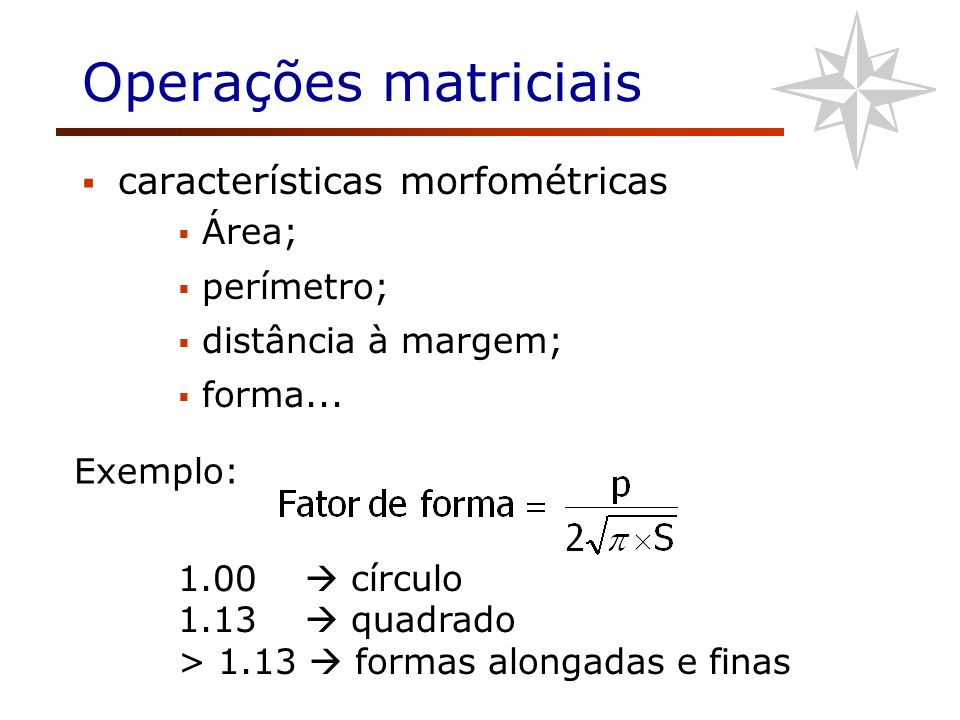 Operações matriciais características morfométricas Área; perímetro; distância à margem; forma... 1.00 círculo 1.13 quadrado > 1.13 formas alongadas e