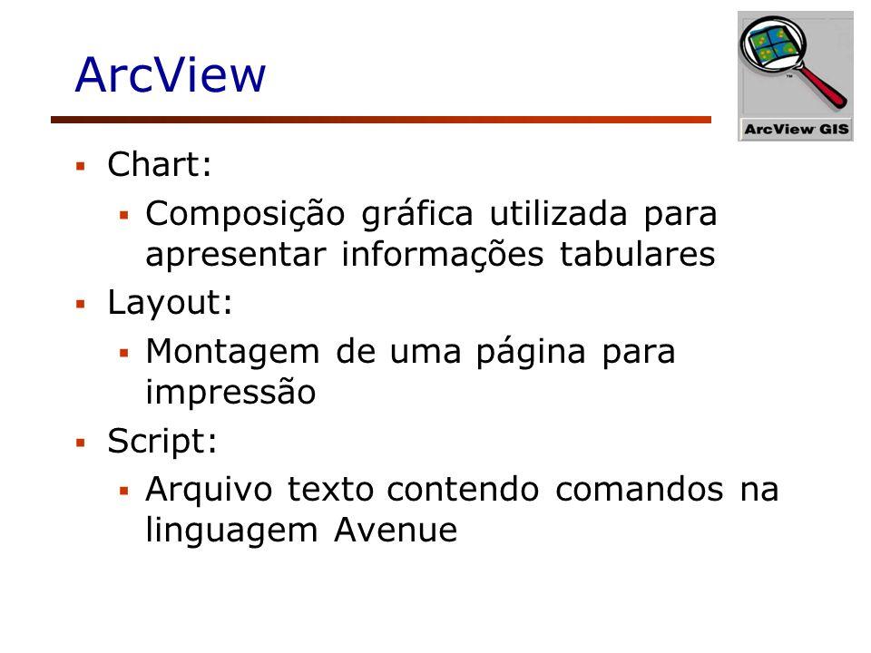 ArcView Chart: Composição gráfica utilizada para apresentar informações tabulares Layout: Montagem de uma página para impressão Script: Arquivo texto