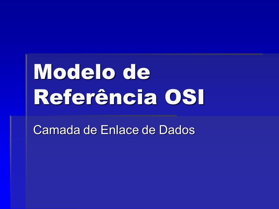 Modelo de Referência OSI Camada de Enlace de Dados