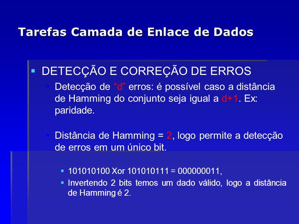 Tarefas Camada de Enlace de Dados DETECÇÃO E CORREÇÃO DE ERROS Detecção de d erros: é possível caso a distância de Hamming do conjunto seja igual a d+