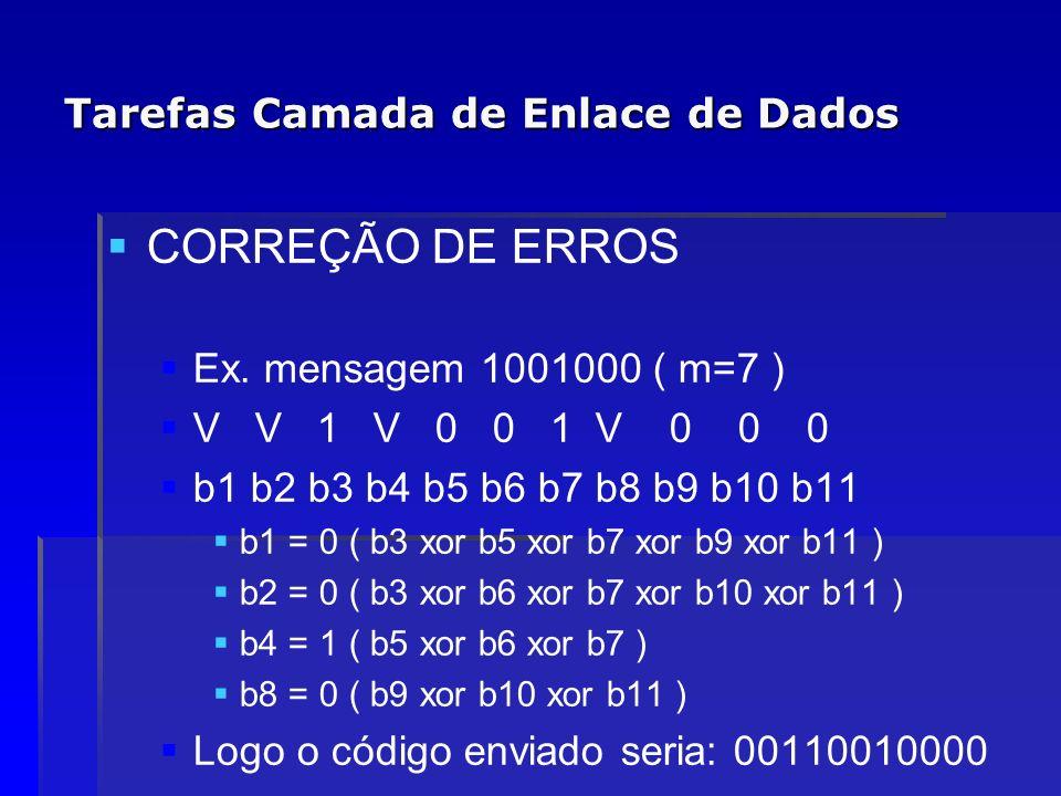 Tarefas Camada de Enlace de Dados CORREÇÃO DE ERROS Ex. mensagem 1001000 ( m=7 ) V V 1 V 0 0 1 V 0 0 0 b1 b2 b3 b4 b5 b6 b7 b8 b9 b10 b11 b1 = 0 ( b3
