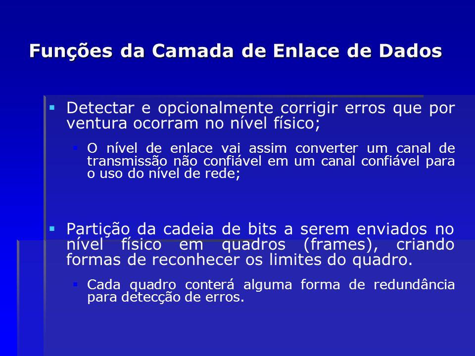 Funções da Camada de Enlace de Dados Detectar e opcionalmente corrigir erros que por ventura ocorram no nível físico; O nível de enlace vai assim conv