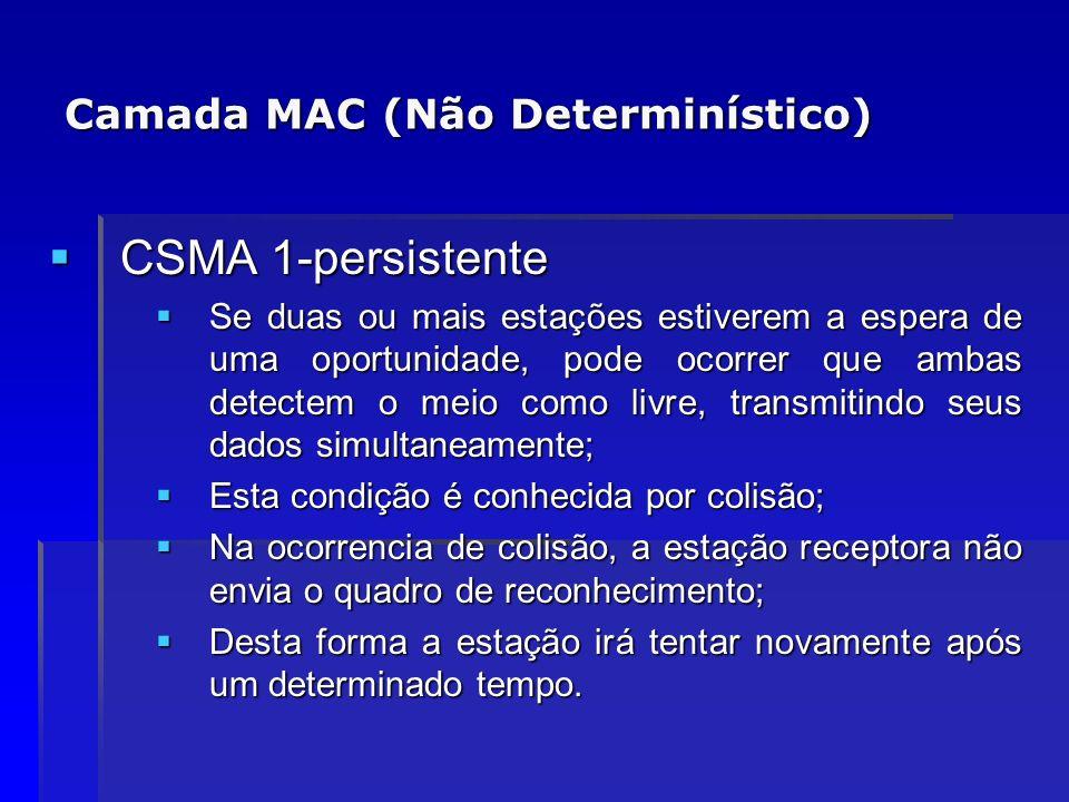Camada MAC (Não Determinístico) CSMA 1-persistente CSMA 1-persistente Se duas ou mais estações estiverem a espera de uma oportunidade, pode ocorrer qu